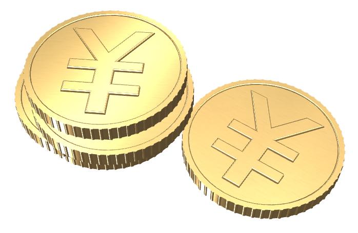 円マークの付いたコイン